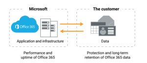 Figure 1 - The division of responsibilities between Microsoft and the Office 365 consumer